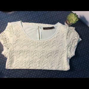 Limited Mint Green Lace Short-Sleeve Shirt Sz M